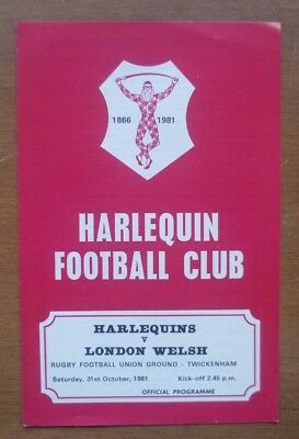 Harlequins v London Welsh, 31/10/1981 - Match Programme.