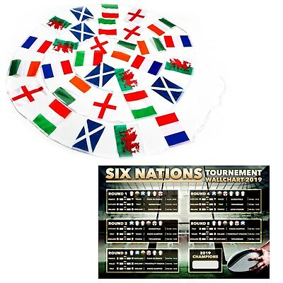 SIX NATIONS Rugby Tournament Flags With FREE Game Wallchart - All Country Flags