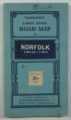 "Old Vintage 1947 ""Geographia"" Large Scale Road Map of Norfolk 3 miles - 1 Inch"