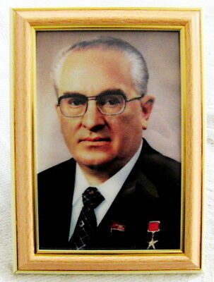 Yuri Andropov Framed Photo Portrait Special Print Metalized Canvas 10 x 15 cm