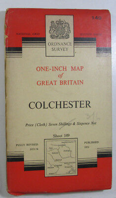 1960 Vintage OS Ordnance Survey Seventh Series One-Inch CLOTH Map 149 Colchester