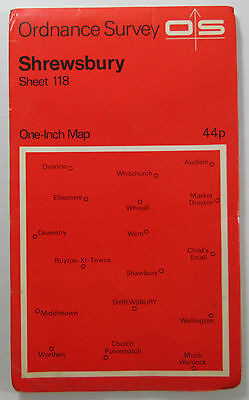 1965 old vintage OS Ordnance Survey one-inch map sheet 118 Shrewsbury