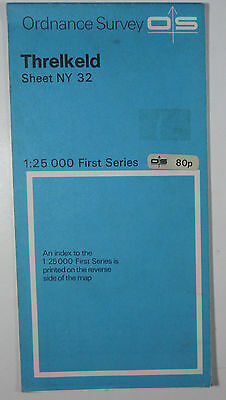 1974 old vintage OS Ordnance Survey 1:25000 First Series map NY 32 Threlkeld