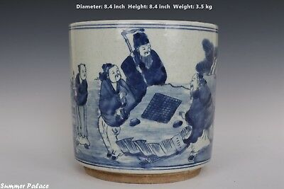 Fine Beautiful Chinese Blue and White Porcelain Characters Brush Pot