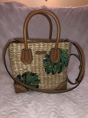 21bc64886144 Michael Kors NEW Tropical Malibu Palm Embroidered Woven Straw Small Tote Bag  NWT