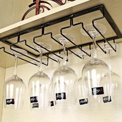 Hanging Cup Rack Glass Cups Holder Metal Iron Craft 4 Rows Steamware Decor