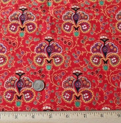 "Antique c1890-1900 Turkey Red Cotton Bandana Medallion Fabric~L-14"" X W-12"""