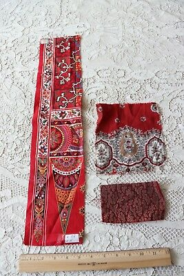 French Antique c1870 Turkey Red & Madder Cotton Bandana Sample Fabrics