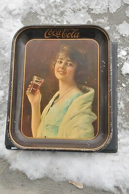 Authentic 1923 Coca Cola Serving Tray Metal Coke Flapper Girl
