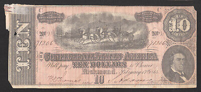 1864 T-68 $10 Confederate Currency Note SN 91306 pp C Civil War CSA
