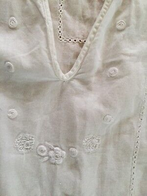 088b6595ed APRIL CORNELL Cotton Embroidered Nightgown White Sleeveless Light LG