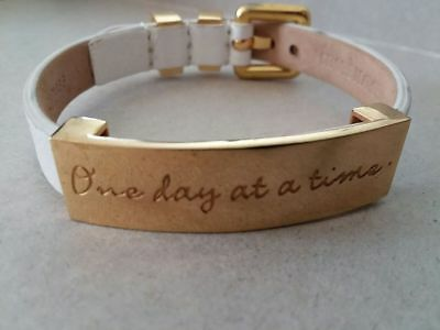 Rustic Cuff One Day At A Time Inspirational Bracelet White