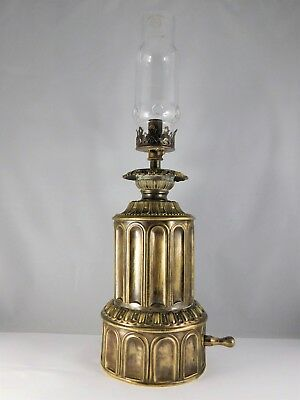 Ancienne Lampe A Gaz En Laiton Sculpte Globe En Cristal A Trous Antic Lamp