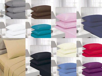 Extra Deep Fitted 40 CM 16 Inch Bed Sheet Percale Quality Poly Cotton 180 Thread