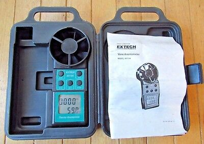 Extech Thermo-Anemometer No. 451104 w/ Case & Manual - Works Great!