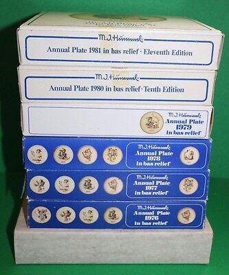 "Goebel M.I. Hummel Annual 1975 - 1981 Group Set Lot of 7 Plates 7.5"" in boxes"