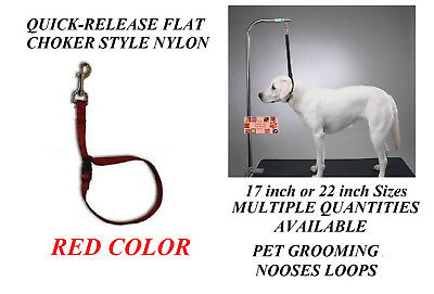 RED FLAT CHOKER QUICK RELEASE RESTRAINT Noose LOOP for Grooming Table Arm Bath