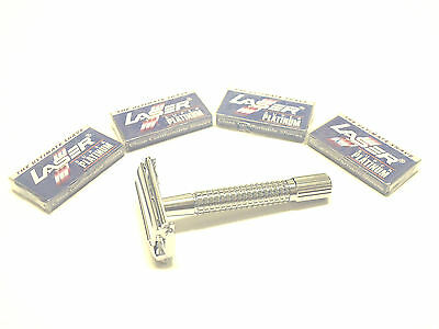 Twist Open Butterfly Safety Razor + 20 Double Edge Blades Classic Shaving Set