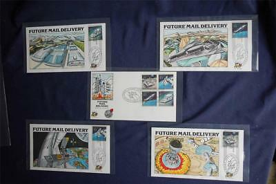 Futuristic Mail Delivery 45c Stamps 5 FDCs HP Collins#V1601-1605 Sc#C122-125
