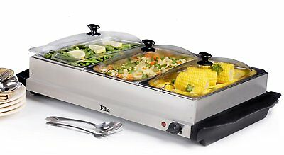 Buffet Server Food Warmer 3 Tray 2.5 Quart Stainless Steel Chafing Dish Electric