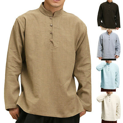 244ca51e7 Vintage Men Linen Casual Long Sleeve Collar Chinese Style Kung Fu Tee Top  Shirts