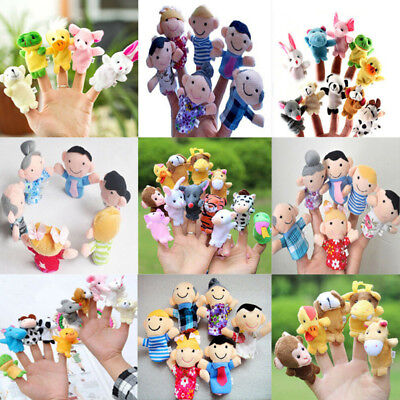 6/12X Baby Kids Plush Cloth Play Game Learn Story Family Finger Puppets Toys Set