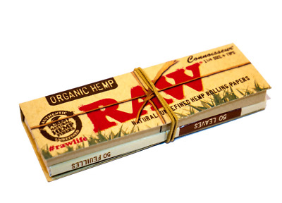 RAW Organic Hemp 1 1/4 Rolling Papers with Tips Natural Unrefined Smoking