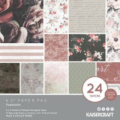 "Kaisercraft 'ROSABELLA' 6.5"" Paper Pad Rose/Floral/Shabby Chic KAISER PP1061"