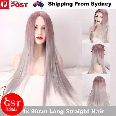 90cm Women Long Straight Full Wig Heat Resistant Synthetic Hair Ombre Smooth Wig