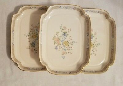 Gorham China Cherrywood Utility or Hors d'oeuvres Trays 24K Gold Trim Set of 3