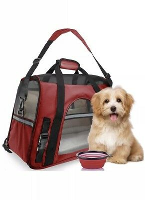 Pet Carrier Soft Sided Large Cat Dog Comfort- Red Travel Bag FAA Approved