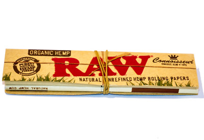 RAW King Size Slim Organic Hemp Natural Rolling Paper Tips Connoisseur Smoking
