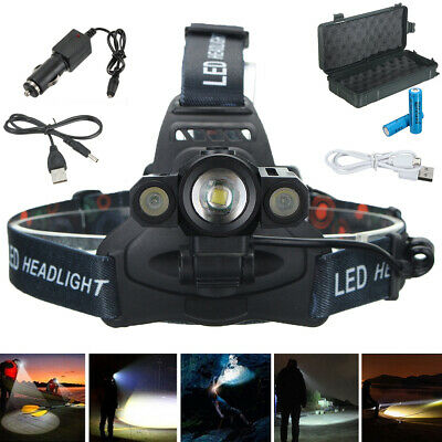 50000LM T6 +2*Q5LED Headlamp Headlight Torch Rechargeable Zoomable 4 Modes +Case