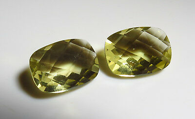 2pc vvs GOLDEN CITRINE faceted CHECKERBOARD CUT OVAL LOOSE GEMSTONES