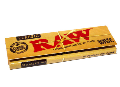 1 RAW Single Wide CLASSIC Natural Rolling Paper Smoking Tobacco 50 Leaf Book