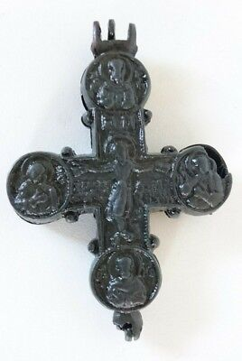 Antique Reliquary Engolpion Cross Kievian Rus Byzantine Viking.