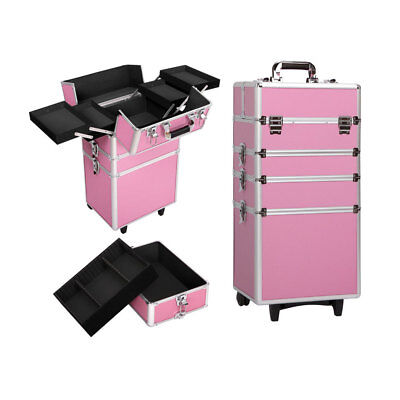 """Pro 30"""" 4in1 Aluminum Makeup Durable Cosmetic Train Case Box Trolley Holder"""