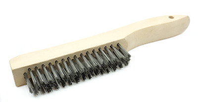 Wire Scratch Brush with Wood Shoe Handle - Stainless Steel - 12 Pack
