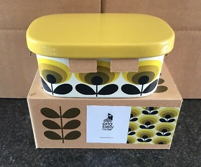 Orla Kiely Ceramic Butter Dish With Lid, Flower Oval, Yellow