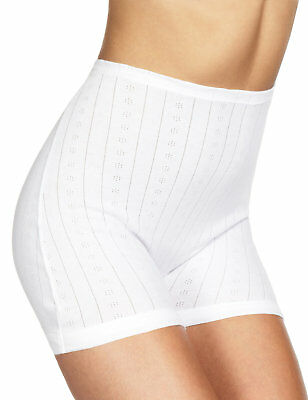 WHITE KNICKERS 2 PAIRS £5-14 SECONDS ex M /& S COTTON POINTELLE PANTEE CUFF
