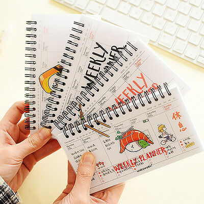 Cartoon Weekly Plan Schedule Spiral Coil Notebook Sketchbook-Journal-Planner