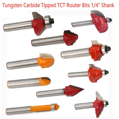 "Tungsten Carbide Tipped TCT Router Bits 1/4"" Shank Sealed Bearing Bit Woodwork"