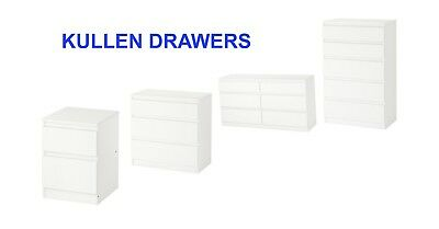 Ikea White Chest of Drawers Bedroom Furniture  2,3,5 & 6 Drawer Sets By Kullen