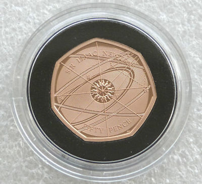 Sir Issac Newton 2017 50p 24ct Gold Plated in coin capsule
