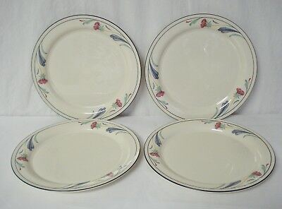 "Lenox Poppies on Blue 4 Dinner Plates Chinastone 10 3/4"" USA China Plate Set"