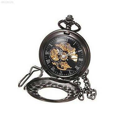 89B8 Retro Black Pendant Necklace Pocket Watch Hanging Women Alloy Accessory