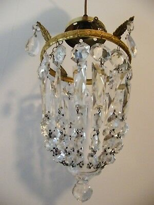 A French Antique Reclaimed Original Gilt Brass Crystal Chandelier Light