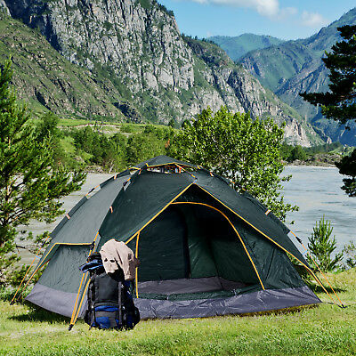 Outsunny Three Man Pop Up Tent Camping Festival Hiking Family Travel Shelter