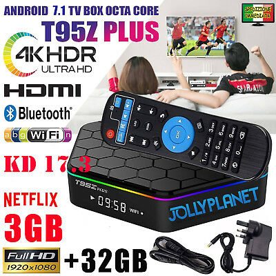 T95Z PLUS Android 7.1 3GB 32GB Octa Core 4K IPTV Smart TV Box S912 Dual WiFi
