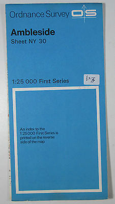 1974 old vintage OS Ordnance Survey 1:25000 First Series map NY 30 Ambleside